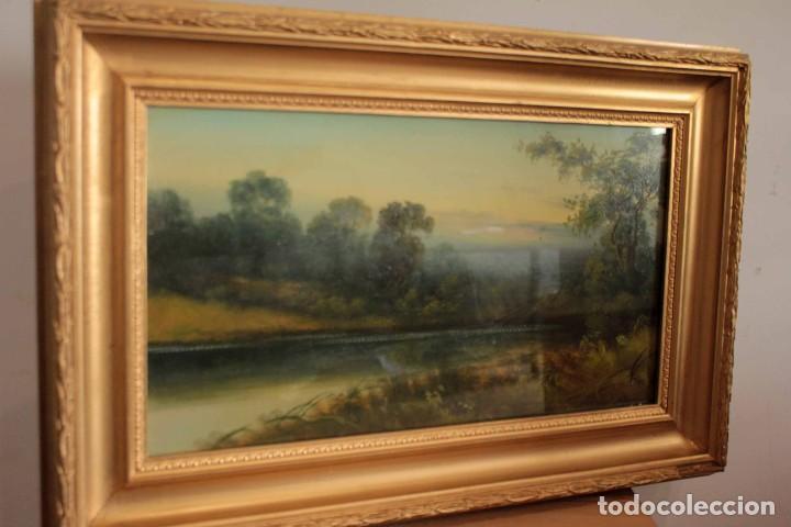 Arte: Paisaje al oleo. Escuela inglesa del siglo XIX. Buena calidad. Enmarcado y con cristal 55x37cm - Foto 2 - 269446448