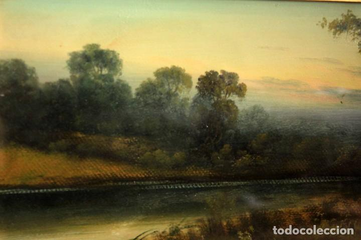 Arte: Paisaje al oleo. Escuela inglesa del siglo XIX. Buena calidad. Enmarcado y con cristal 55x37cm - Foto 3 - 269446448