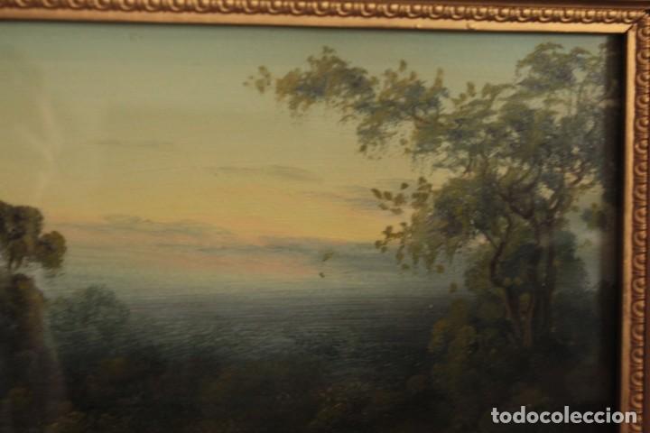 Arte: Paisaje al oleo. Escuela inglesa del siglo XIX. Buena calidad. Enmarcado y con cristal 55x37cm - Foto 4 - 269446448