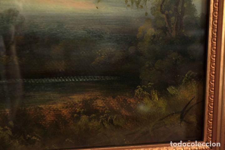 Arte: Paisaje al oleo. Escuela inglesa del siglo XIX. Buena calidad. Enmarcado y con cristal 55x37cm - Foto 5 - 269446448