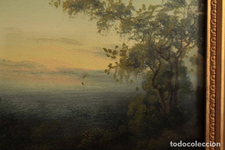 Arte: Paisaje al oleo. Escuela inglesa del siglo XIX. Buena calidad. Enmarcado y con cristal 55x37cm - Foto 6 - 269446448