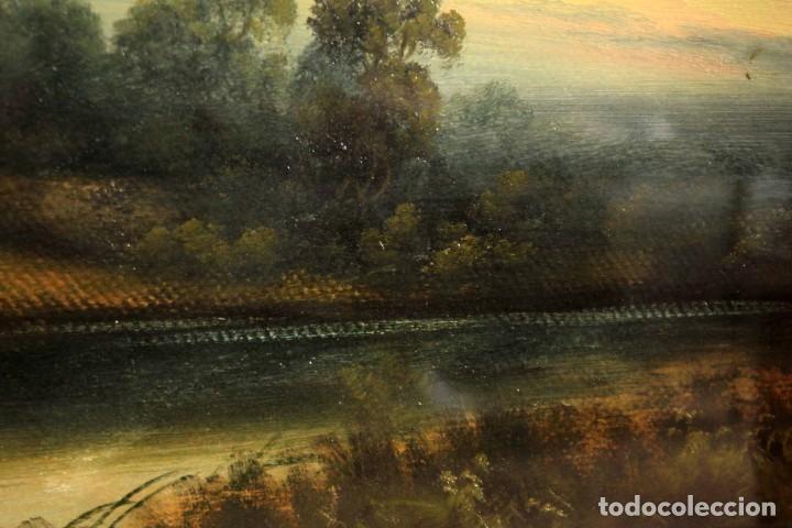 Arte: Paisaje al oleo. Escuela inglesa del siglo XIX. Buena calidad. Enmarcado y con cristal 55x37cm - Foto 7 - 269446448