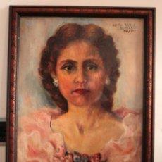 Arte: RETRATO DE MUJER PINTADO AL OLEO. GRAN CALIDAD. FIRMADO Y FECHADO. CON MARCO Y CRISTAL. 55X43CM. Lote 269453878