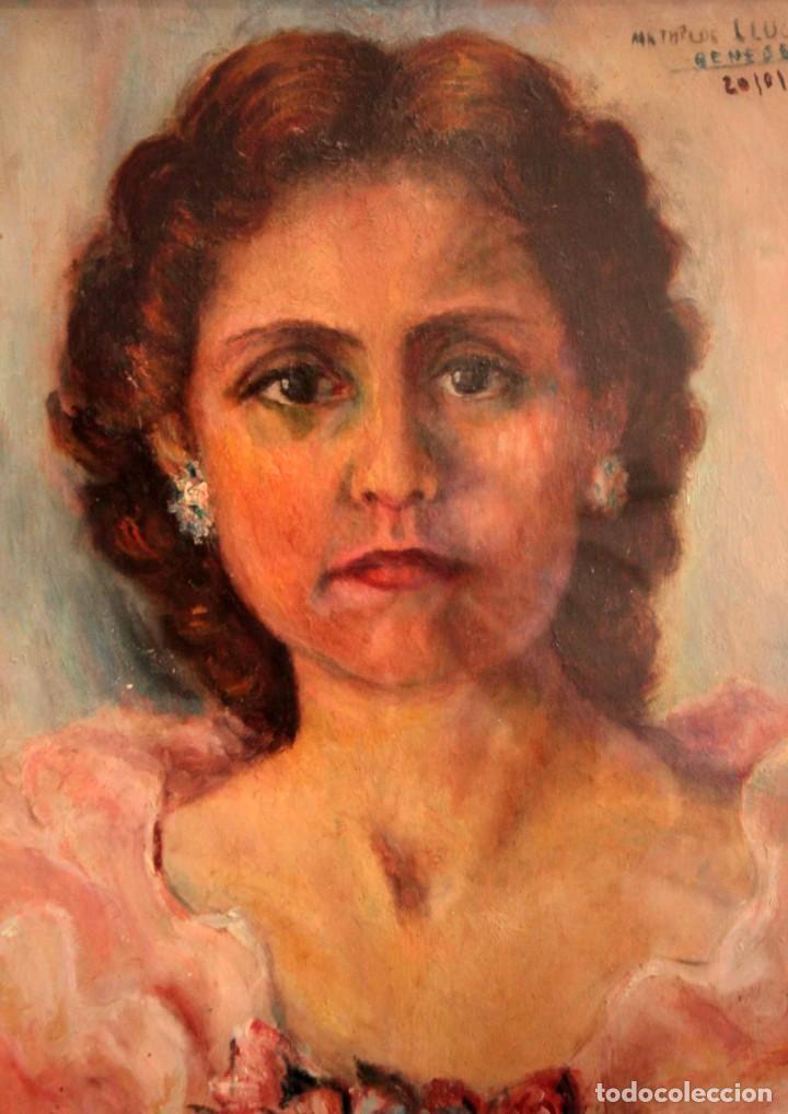 Arte: Retrato de mujer pintado al oleo. Gran calidad. Firmado y fechado. Con marco y cristal. 55x43cm - Foto 2 - 269453878