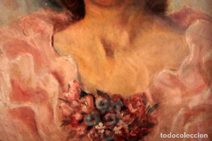 Arte: Retrato de mujer pintado al oleo. Gran calidad. Firmado y fechado. Con marco y cristal. 55x43cm - Foto 3 - 269453878