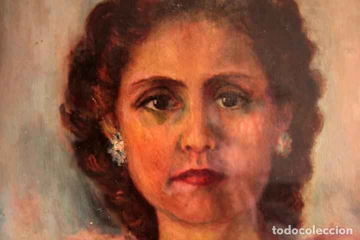 Arte: Retrato de mujer pintado al oleo. Gran calidad. Firmado y fechado. Con marco y cristal. 55x43cm - Foto 4 - 269453878