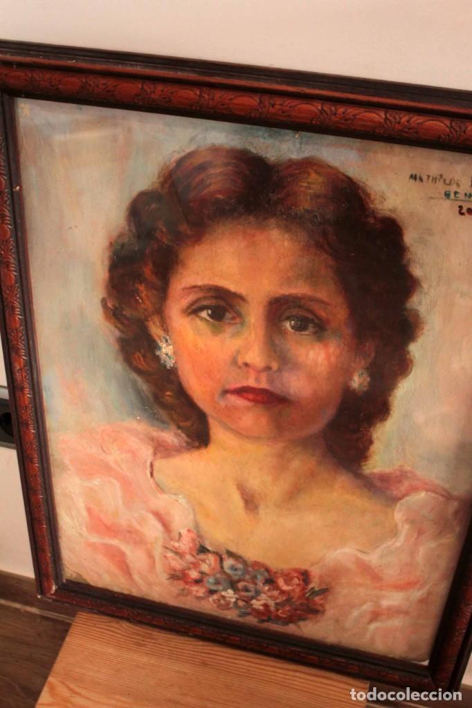 Arte: Retrato de mujer pintado al oleo. Gran calidad. Firmado y fechado. Con marco y cristal. 55x43cm - Foto 5 - 269453878