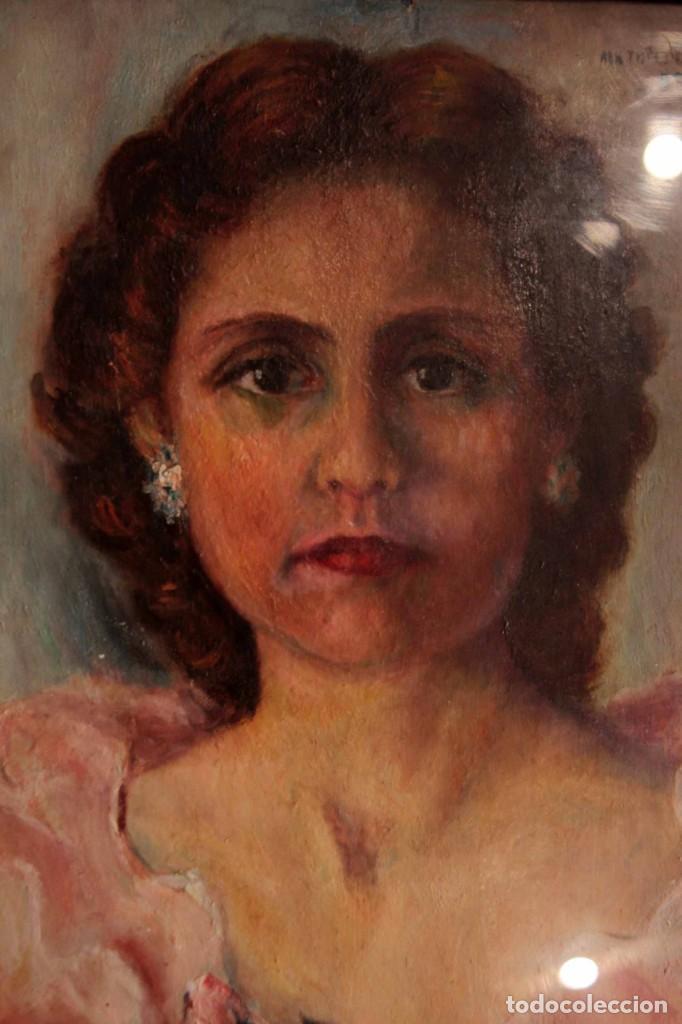 Arte: Retrato de mujer pintado al oleo. Gran calidad. Firmado y fechado. Con marco y cristal. 55x43cm - Foto 6 - 269453878