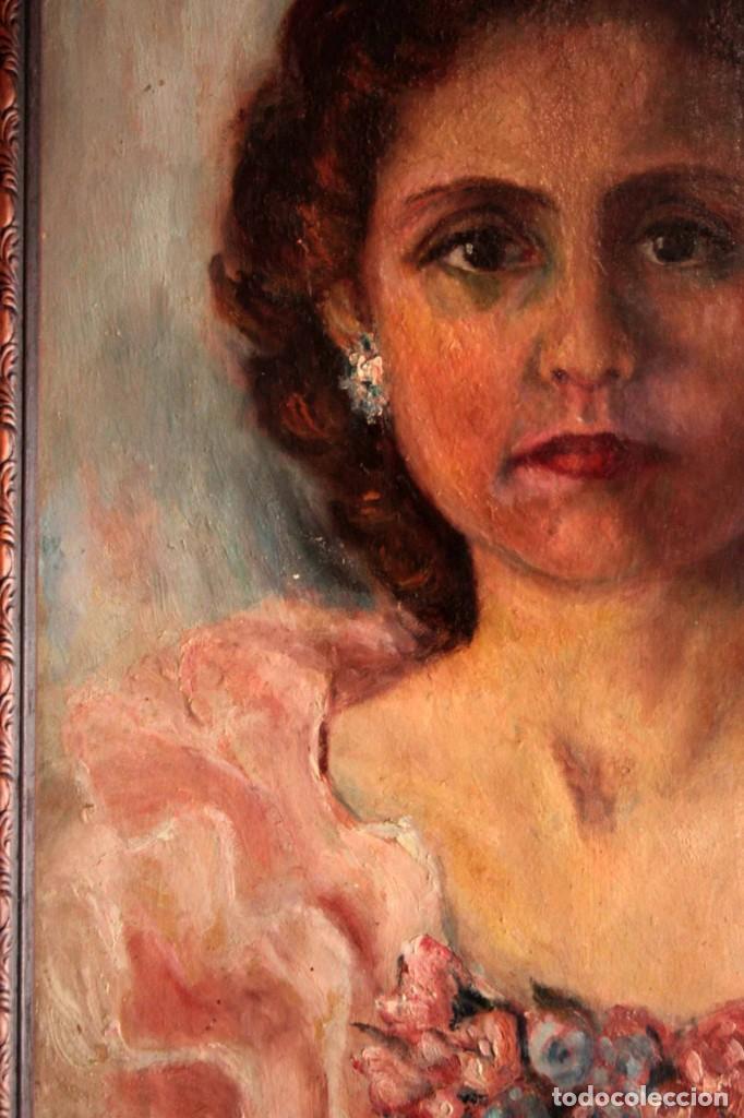 Arte: Retrato de mujer pintado al oleo. Gran calidad. Firmado y fechado. Con marco y cristal. 55x43cm - Foto 7 - 269453878