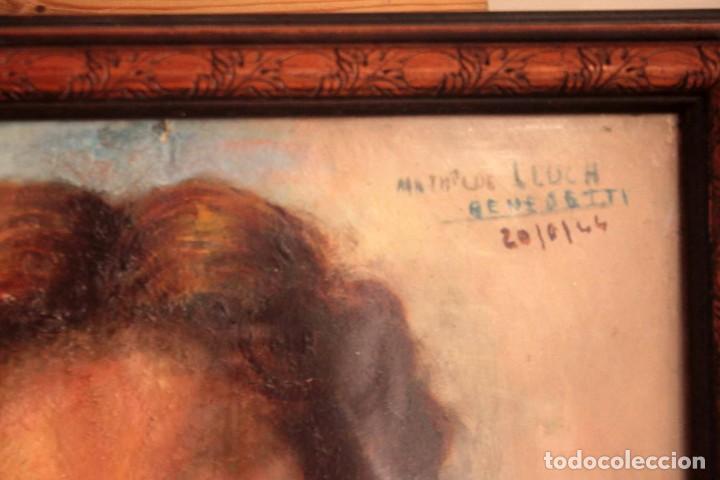 Arte: Retrato de mujer pintado al oleo. Gran calidad. Firmado y fechado. Con marco y cristal. 55x43cm - Foto 8 - 269453878