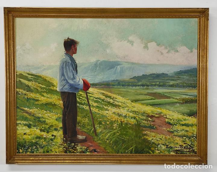 BERGA Y BOADA (OLOT 1872- SANT FELIU DE GUIXOLS 1923 - ÓLEO SOBRE TELA - PAISAJE - AÑO 1910 (Arte - Pintura - Pintura al Óleo Moderna sin fecha definida)