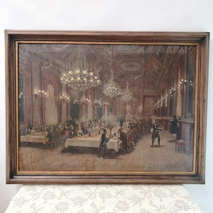 ÓLEO CENA DE GALA (Arte - Pintura - Pintura al Óleo Moderna siglo XIX)