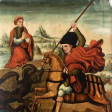 Arte: ÓLEO SOBRE TABLA DEL SIGLO XV-XVI - ESCUELA CATALANA - 104X79CM - SAN JORGE MATANDO AL DRAGÓN. Lote 269758338