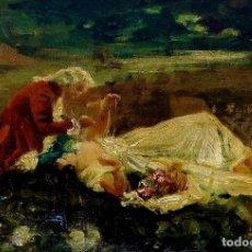 Arte: PAREJA GALANTE. FIRMADO. LAUREÀ BARRAU. ÓLEO SOBRE PINO DE FLANDES. ESPAÑA. 1884. Lote 269808328