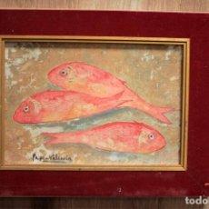 Arte: BODEGÓN DE SALMONETES. OLEO SOBRE PANEL. FIRMADO PEPE-VALENCIA. ENMARCADO 36X27. Lote 270113718