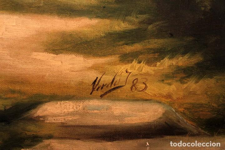 Arte: Gran paisaje pintado al oleo sobre lienzo. Firmado Verdú. Pintor Valenciano. Con marco 139x79cm - Foto 10 - 270143538