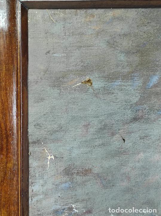 Arte: Óleo sobre Tela - Retrato - Marco Isabelino en Madera de Caoba - Foto 6 - 270455278