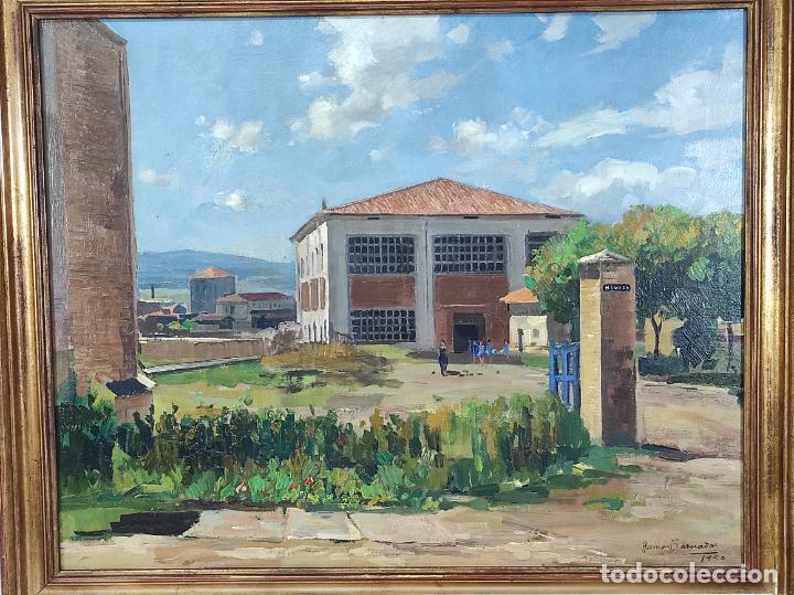 Arte: Óleo sobre Tela - Ramón Barnadas (Olot 1909 - Girona 1981) - Fabrica Hi.Vi.Sa, Vic - Año 1950 - Foto 2 - 270516318