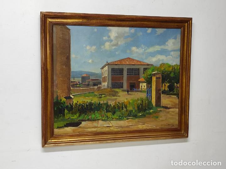 Arte: Óleo sobre Tela - Ramón Barnadas (Olot 1909 - Girona 1981) - Fabrica Hi.Vi.Sa, Vic - Año 1950 - Foto 5 - 270516318