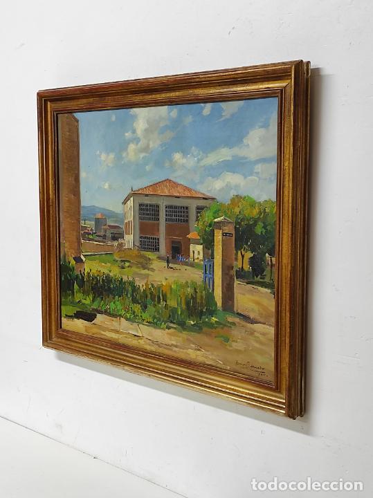 Arte: Óleo sobre Tela - Ramón Barnadas (Olot 1909 - Girona 1981) - Fabrica Hi.Vi.Sa, Vic - Año 1950 - Foto 7 - 270516318