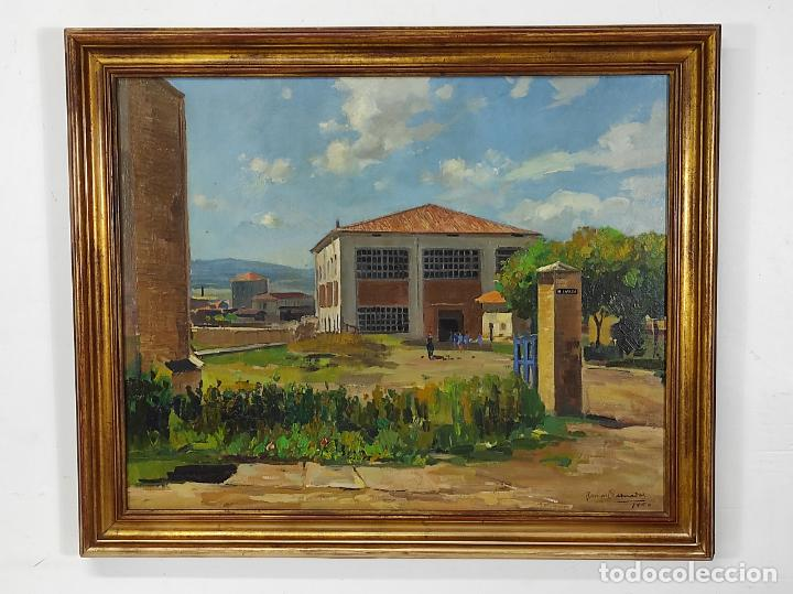 ÓLEO SOBRE TELA - RAMÓN BARNADAS (OLOT 1909 - GIRONA 1981) - FABRICA HI.VI.SA, VIC - AÑO 1950 (Arte - Pintura - Pintura al Óleo Moderna sin fecha definida)