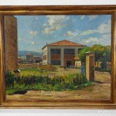 Arte: ÓLEO SOBRE TELA - RAMÓN BARNADAS (OLOT 1909 - GIRONA 1981) - FABRICA HI.VI.SA, VIC - AÑO 1950. Lote 270516318