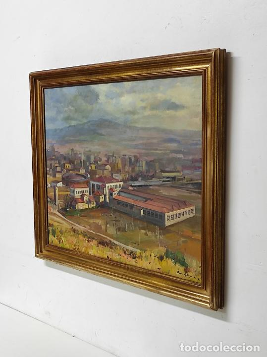 Arte: Óleo sobre Tela - Ramón Barnadas (Olot 1909 - Girona 1981) - Fabrica Hi.Vi.Sa, Vic - Año 1954 - Foto 6 - 270516438