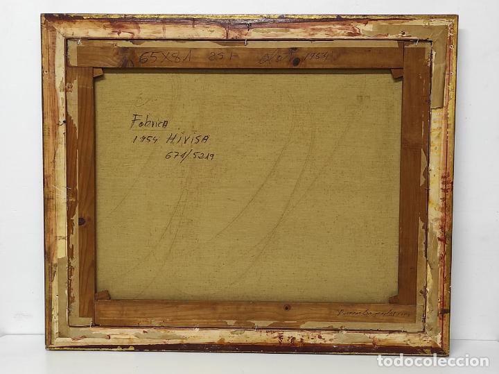 Arte: Óleo sobre Tela - Ramón Barnadas (Olot 1909 - Girona 1981) - Fabrica Hi.Vi.Sa, Vic - Año 1954 - Foto 7 - 270516438