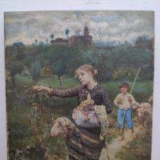 Arte: PASTORCITOS COMIENDO UVAS.1900. Lote 270560173