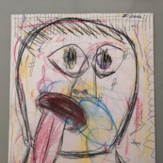 Arte: PINTURA RETRATO ORIGINAL STEVEN MANLEY CERA SOBRE PAPEL OUTSIDER ARTE MATADOR. Lote 270916598