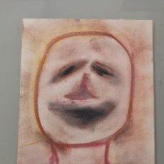 Arte: OBRA DE ARTE ORIGINAL PINTURA PASTEL SOBRE PAPEL STEVEN MANLEY ESTILO BASQUIAT RETRATO SURREALISMO A. Lote 270918278