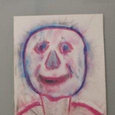 Arte: OBRA DE ARTE ORIGINAL PINTURA PASTEL SOBRE PAPEL STEVEN MANLEY ESTILO BASQUIAT RETRATO SURREALISMO A. Lote 270918478