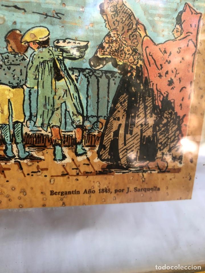 Arte: J.sarquella . Precioso dibujo o óleo sobre papel .bergantin año 1848 . Tiempos antiguos . Ver fotos - Foto 2 - 270918713