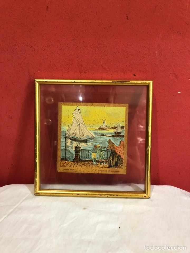 Arte: J.sarquella . Precioso dibujo o óleo sobre papel .bergantin año 1848 . Tiempos antiguos . Ver fotos - Foto 6 - 270918713