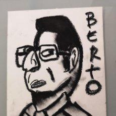 Arte: OBRA DE ARTE ORIGINAL PINTURA PASTEL SOBRE PAPEL STEVEN MANLEY ESTILO BASQUIAT RETRATO BERTO ROMERO. Lote 270919023