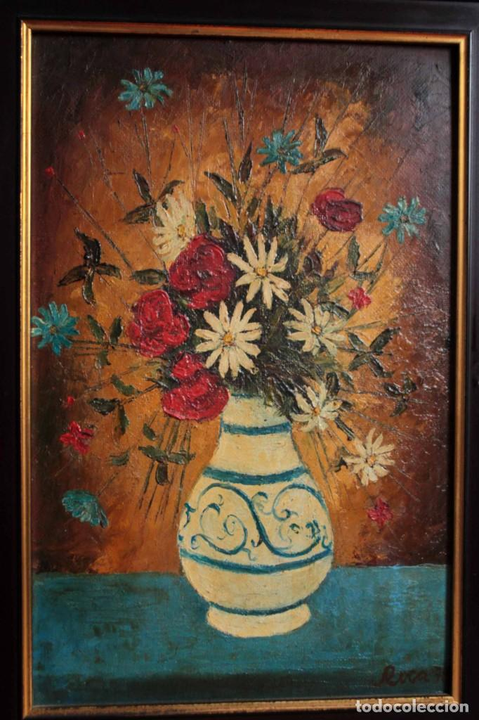 Arte: Florero pintado al oleo, firmado Roca 78, escuela valenciana o catalana. Con marco 42x30cm - Foto 2 - 271141943