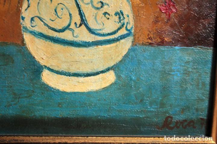 Arte: Florero pintado al oleo, firmado Roca 78, escuela valenciana o catalana. Con marco 42x30cm - Foto 5 - 271141943
