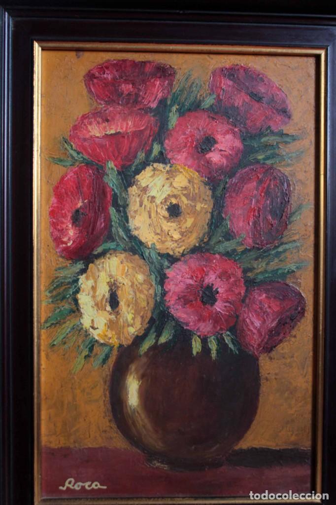 Arte: Florero pintado al oleo, firmado Roca, escuela valenciana o catalana. Con marco 42x30cm - Foto 2 - 271149053