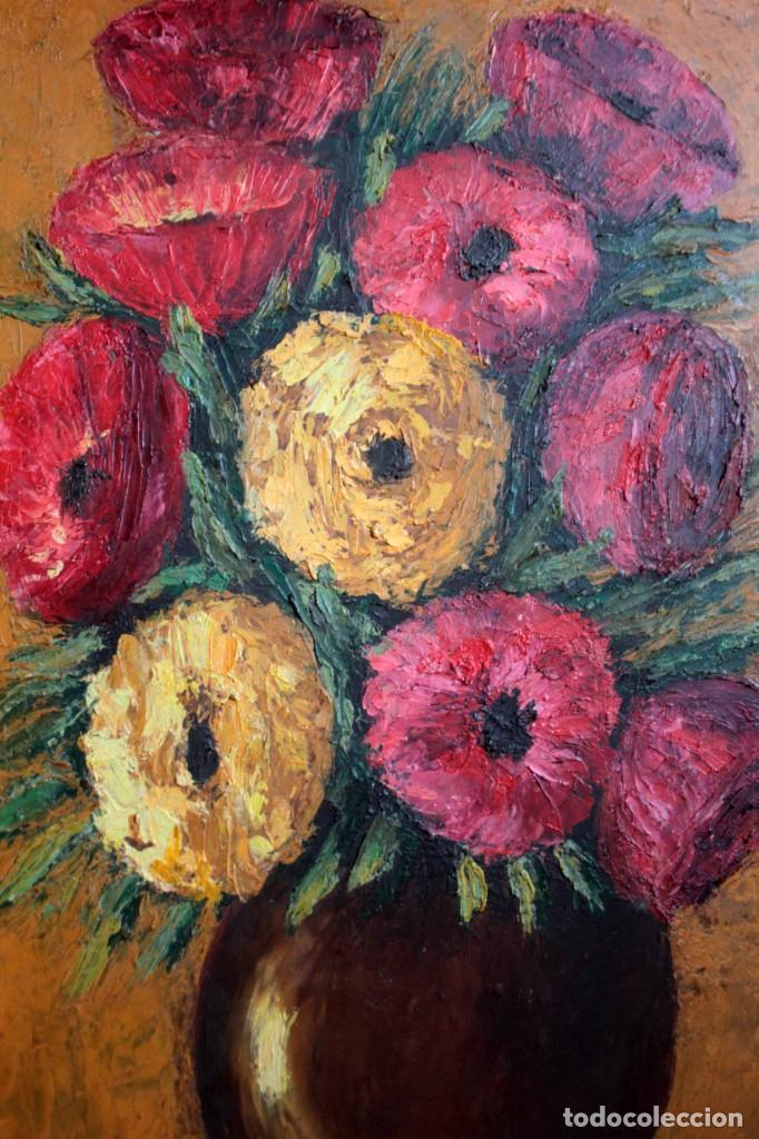 Arte: Florero pintado al oleo, firmado Roca, escuela valenciana o catalana. Con marco 42x30cm - Foto 3 - 271149053