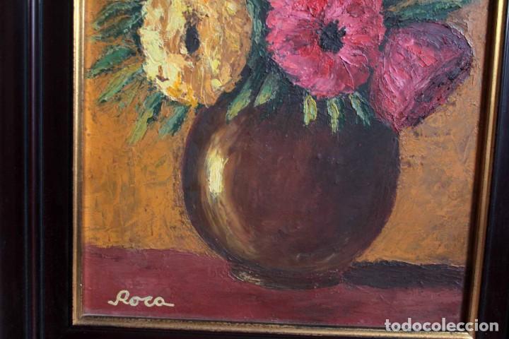 Arte: Florero pintado al oleo, firmado Roca, escuela valenciana o catalana. Con marco 42x30cm - Foto 4 - 271149053