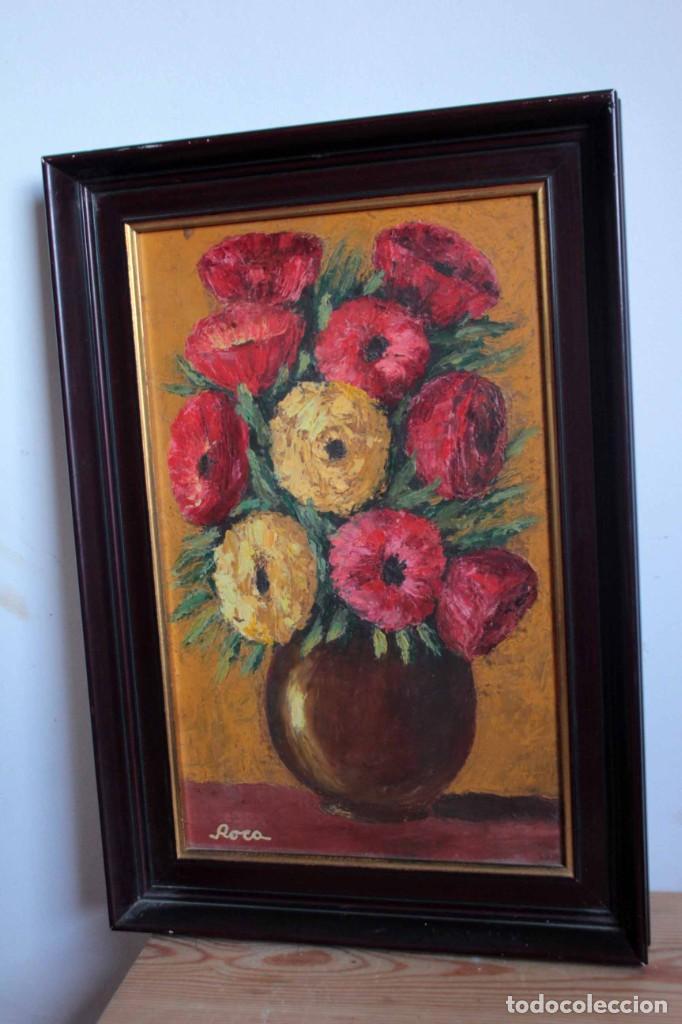 Arte: Florero pintado al oleo, firmado Roca, escuela valenciana o catalana. Con marco 42x30cm - Foto 5 - 271149053