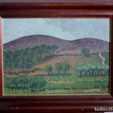 Arte: PAISAJE PINTADO AL OLEO, FIRMADO MONSALVE, 85. CON MARCO MIDE 42X33CM. Lote 271150578