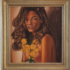 Arte: OLEO SOBRE TABLA DESNUDO CON FLORES. Lote 27339796