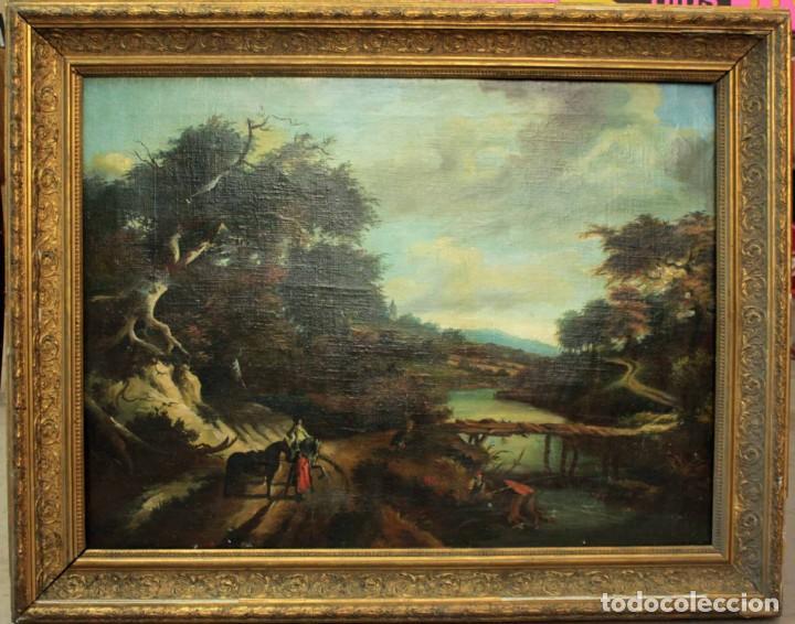 ESCUELA HOLANDESA S.XVIII-XIX, PAISAJE, BUEN TAMAÑO. GRAN CALIDAD CON MARCO 96X76CM (Arte - Pintura - Pintura al Óleo Antigua sin fecha definida)
