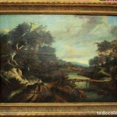 Arte: ESCUELA HOLANDESA S.XVIII-XIX, PAISAJE, BUEN TAMAÑO. GRAN CALIDAD CON MARCO 96X76CM. Lote 271619223