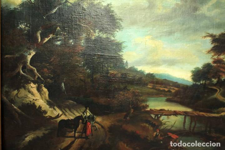 Arte: Escuela Holandesa s.XVIII-XIX, Paisaje, buen tamaño. Gran calidad Con marco 96x76cm - Foto 2 - 271619223