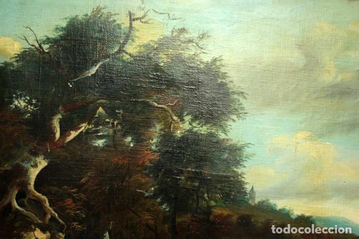 Arte: Escuela Holandesa s.XVIII-XIX, Paisaje, buen tamaño. Gran calidad Con marco 96x76cm - Foto 4 - 271619223