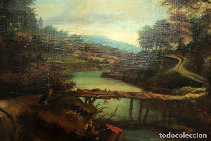 Arte: Escuela Holandesa s.XVIII-XIX, Paisaje, buen tamaño. Gran calidad Con marco 96x76cm - Foto 6 - 271619223