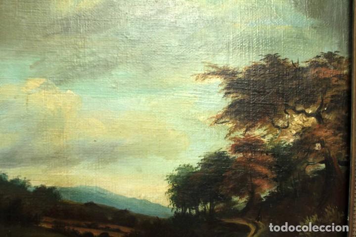 Arte: Escuela Holandesa s.XVIII-XIX, Paisaje, buen tamaño. Gran calidad Con marco 96x76cm - Foto 7 - 271619223