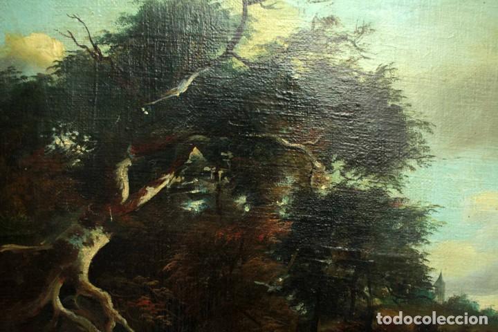 Arte: Escuela Holandesa s.XVIII-XIX, Paisaje, buen tamaño. Gran calidad Con marco 96x76cm - Foto 8 - 271619223